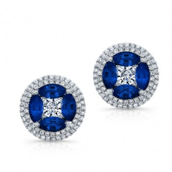 NATURAL COLOR WHITE GOLD ELEGANT FLOWER SAPPHIRE EARRINGS