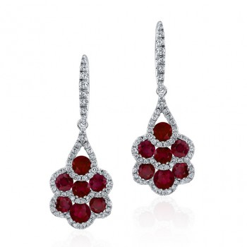 NATURAL COLOR WHITE GOLD CONTEMPORARY RUBY DIAMOND EARRINGS
