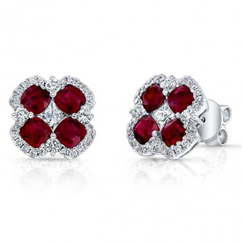 NATURAL COLOR WHITE GOLD TRENDY FLOWER RUBY EARRINGS