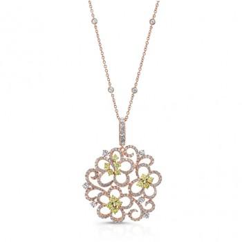 ROSE GOLD VINTAGE SWIRLED FLOWER DIAMOND PENDANT