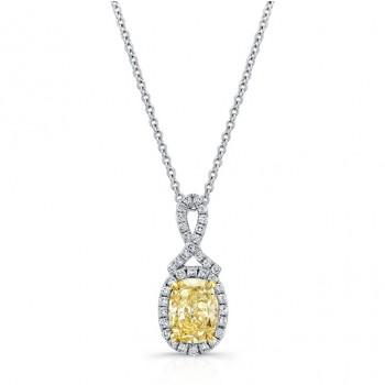 WHITE AND YELLOW GOLD TWISTED FANCY YELLOW CUSHION DIAMOND PENDANT