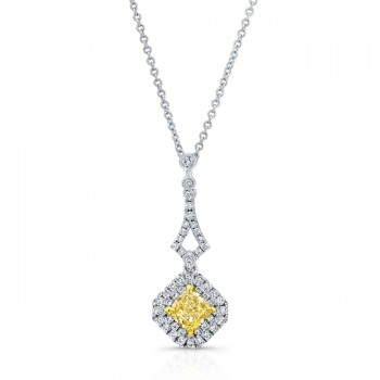 WHITE AND YELLOW GOLD ELEGANT FANCY YELLOW RADIANT DIAMOND PENDANT