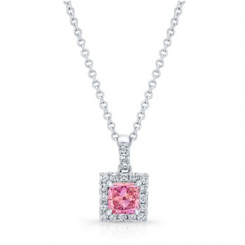 WHITE GOLD HALO PINK ENHANCED RADIANT DIAMOND PENDANT