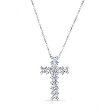 WHITE GOLD VINTAGE DIAMOND CROSS PENDANT