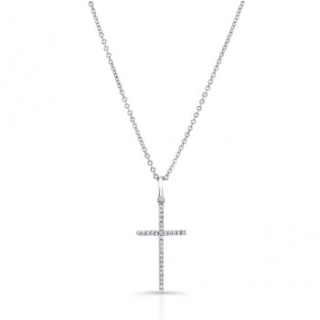 WHITE GOLD CLASSIC DIAMOND CROSS PENDANT
