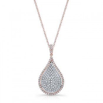 ROSE GOLD FASHION TEAR DROP DIAMOND PENDANT