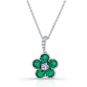 NATURAL COLOR WHITE GOLD PEAR EMERALD FLOWER DIAMOND PENDANT