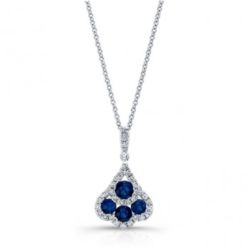 NATURAL COLOR WHITE GOLD FASHION SAPPHIRE DIAMOND PENDANT