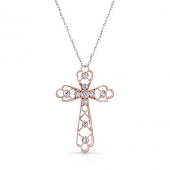 ROSE GOLD  CLASSIC VINTAGE DIAMOND CROSS PENDANT