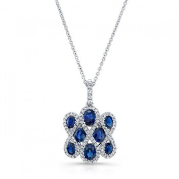 NATURAL COLOR WHITE GOLD CLASSIC SAPPHIRE FLOWER DIAMOND PENDANT
