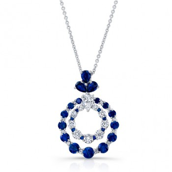 NATURAL COLOR WHITE GOLD SAPPHIRE INSPIRED CIRCLE DIAMOND PENDANT