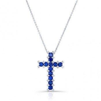 NATURAL COLOR WHITE GOLD SAPPHIRE CROSS DIAMOND  PENDANT