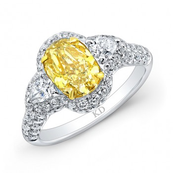 WHITE AND YELLOW GOLD FANCY YELLOW  OVAL DIAMOND  ENGAGEMENT RING