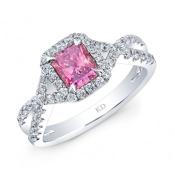 WHITE GOLD TWISTED PINK ENHANCED RADIANT DIAMOND BRIDAL RING