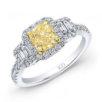 WHITE AND YELLOW GOLD FANCY YELLOW DIAMOND BRIDAL RING