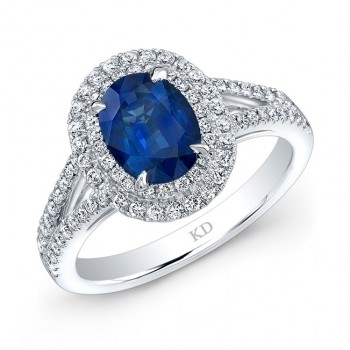 NATURAL COLOR WHITE GOLD  FASHION HALO SAPPHIRE RING