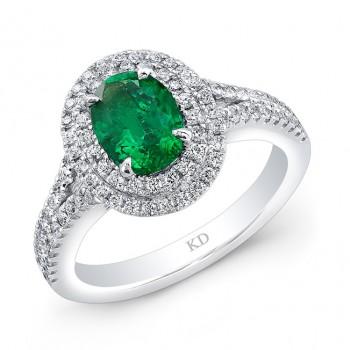 WHITE GOLD NATURAL COLOR HALO EMERALD DIAMOND RING