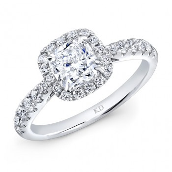 WHITE GOLD INSPIRED CUSHION HALO DIAMOND ENGAGEMENT RING