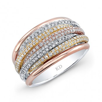 YELLOW & ROSE & WHITE GOLD FIVE ROW PAVE FASHION DIAMOND RING