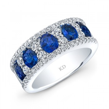 NATURAL COLOR WHITE GOLD TRENDY SAPPHIRE CHECKERS DIAMOND BAND