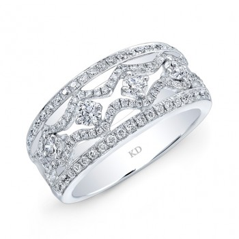 WHITE GOLD INSPIRED DUAL ROW DIAMOND WEDDING BAND