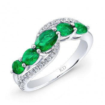WHITE GOLD NATURAL COLOR CONTEMPORARY EMERALD DIAMOND RING