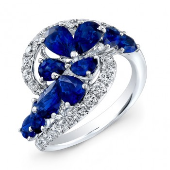 WHITE GOLD NATURAL COLOR DAZZLING SAPPHIRE SWIRLED DIAMOND RING