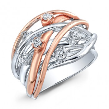 WHITE & ROSE GOLD CONTEMPORARY CRISS CROSS DIAMOND RING