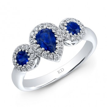 WHITE GOLD NATURAL COLOR FASHION SAPPHIRE DIAMOND RING