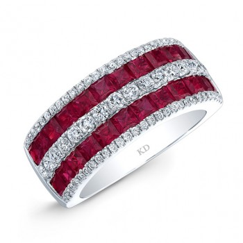 NATURAL COLOR WHITE GOLD TRENDY RUBY DIAMOND RING