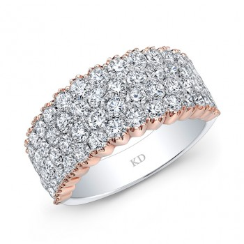 WHITE & ROSE GOLD FOUR  ROW ELEGANT DIAMOND WEDDING BAND