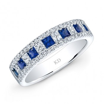 NATURAL COLOR WHITE GOLD FASHION SAPPHIRE CHECKERS DIAMOND BAND