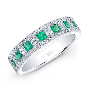 NATURAL COLOR WHITE GOLD FASHION EMERALD CHECKERS DIAMOND BAND