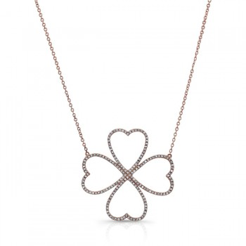 ROSE GOLD TRENDY DIAMOND FLOWER PENDANT
