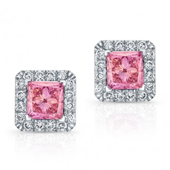 WHITE GOLD PINK ENHANCED PRINCESS DIAMOND HALO EARRINGS
