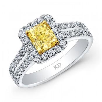 WHITE AND YELLOW GOLD FANCY YELLOW CUSHION DIAMOND HALO RING
