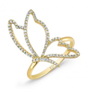 YELLOW GOLD STYLISH BUTTERFLY DIAMOND RING